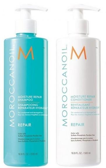 Moroccanoil Moisture Repair Set (Shampoo 500ml + Conditioner 500ml)